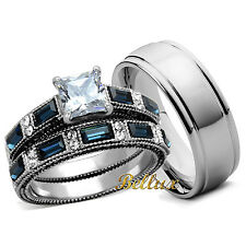 His and Hers Stainless Steel Clear Blue CZ Vintage Design Wedding Rings Sets