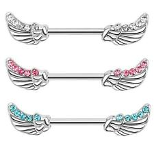 Nipple piercing silver stainless steel Angel wings Zirconia turquoise clear pink