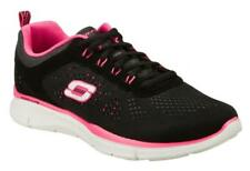 Skechers EQUALIZER NEW MILESTONE Ladies Fitness Lace Up Trainers Black/Hot Pink