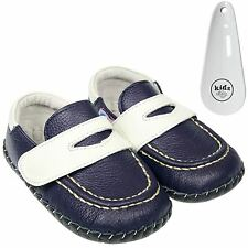 Boys Toddler Leather Soft Sole Baby Shoes Navy Blue & White & Velcro & Shoe Horn