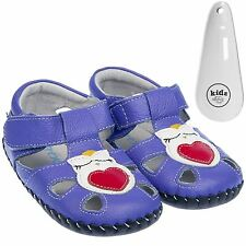 Girls Toddler Leather Soft Sole Baby Shoes Sandals Purple Owls & Shoe Horn