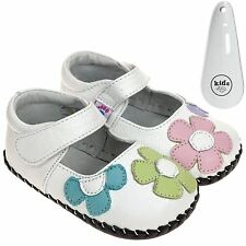 Girls Toddler Leather Soft Sole Baby Shoes White & Coloured Flower  & Shoe Horn
