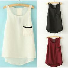 2015 Women Loose Casual Pocket Chiffon Sleeveless Vest Blouse Shirt Cheap Price