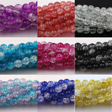 Lots Round Clear Crackle Art Crystal Glass Charm Bead Findings DIY 4/6/8/10/12mm