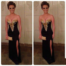 Hot Sexy Black Evening Dresses Gold Stone Side Split Prom Pageant Gown Size 2-16
