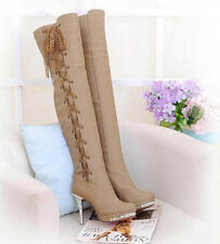 Fashion womens autumn leather over the knee high lace up boot platform shoe W20
