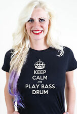 KEEP CALM AND PLAY BASS DRUM UNISEX MENS WOMEN T SHIRT TEE