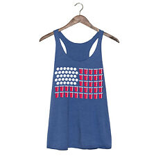 US Flag Cup Beer Pong Balls Funny Drinking Style Party Novelty - Ladies Tank