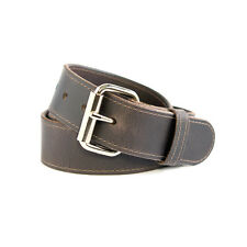 """Quality Crafted Dark Brown - Stitched Genuine Mens Cow Leather Belt - 1.5"""" Wide"""