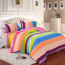Rainbow Young Single Double Queen King Size Bed Set Pillowcase Quilt Duvet Cover