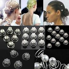 Hot Diamante Crystal Hair Twists Swirls Pins Spirals Pearl Flower Silver Wedding