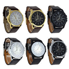 New Mens Luxury Analog Sport Steel Case Quartz With Leather Band Wrist Watch UK