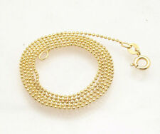 1mm Technibond Solid Bead Ball Chain Necklace 14K Yellow Gold Clad Silver 925