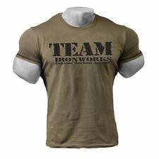 GREY  VINTAGE ARMY STYLE FITTED BODYBUILDING T SHIRT GYM CLOTHING TOP J-122