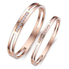 Womens Mens Cubic Zirconia Rose Gold Tone Stainless Steel Couple Bracelet Bangle