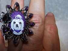 hand painted Maltes on large faceted crystal adjustable  ring,one size fits most