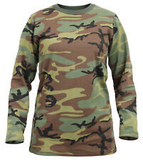 womens t-shirt woodland camo long sleeve cotton poly blend rothco 3678