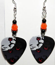 NEW! Handmade in USA Guitar Pick Earrings with Beads - Halloween Pumpkins