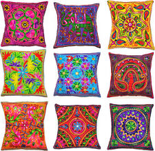 "Zip Cushion Cover 16x16"" 40cm Indian MultiColour Embroidery Tapestry Animal Bird"