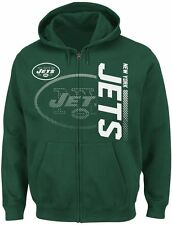 NEW Mens MAJESTIC New York NY JETS Football Full Zip Up Touchback Hoodie NFL