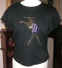New Glitzy Baton Twirling T-Shirts with Crystal Motifs - Ladies Small & Medium