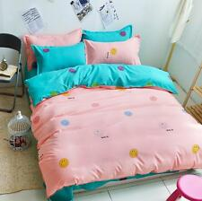 Happy Pink Single Double Queen King Size Bed Set Pillowcase Quilt Duvet Cover