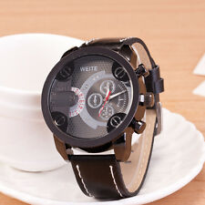 Trendy Men's Leather Band Stainless Steel Sport Analog Quartz Wrist Watch Gift