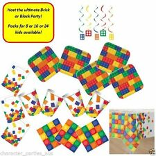 Lego Party Block Party Supplies Pack for 8 or 16 Cups Plates Loot Bags Napkins +