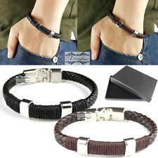 Unisex Real Genuine Leather Braided Bracelet Wristband Stainless Steel Clasp UK