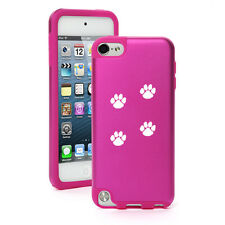 For iPod Touch 5th 6th Hard Aluminum Soft Silicone Case Cover Paw Prints Walking