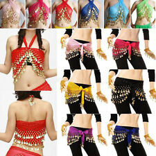 3Rows Gold Coin Women Belly Dance Costume Hip Scarf Skirt Belt Dancing Wraps Hot