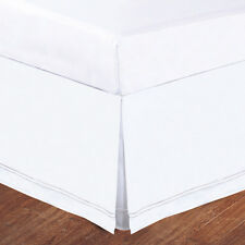 "White Baratta Stitch on White Tailored Microfiber 14"" Bedskirt, Tailored Pleat"