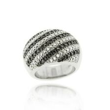 Sterling Silver Black Diamond Accent Striped Band Ring