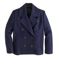 NEW WOMENS 4 J CREW WOOL MELTON PEACOAT PEA COAT JACKET NAVY BLUE NWT