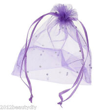 Wholesale Lots Organza Gift Bags Jewelry Pouches Wedding Favor Purple