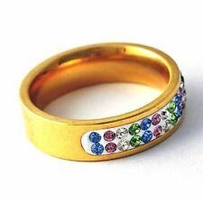 womens stainless steel cz ring beautiful Multi-color crystal band ring Size 6-9