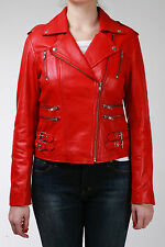 Ladies Real 100% Leather Short Fitted Bikers Style Retro Red Rock Jacket