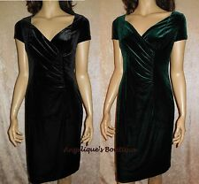 TOGETHER BLACK OR DARK GREEN VELVET RUCHED WIGGLE SKIRT PARTY DRESS SZ 10-16 NEW