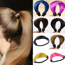 2pcs Womens Girl's Straight Wig Elastic Hair Band Rope Scrunchie Ponytail Holder