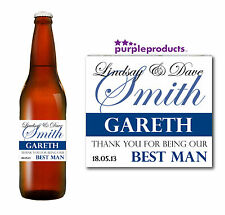 PERSONALISED BEST MAN WEDDING THANK YOU, CHAMPAGNE, BEER / CIDER BOTTLE LABEL