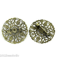 Wholesale Lots Copper Hollow Brooches Pins Round Bronze Tone 3.2cmx3.1cm