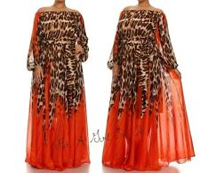 SEXY CHIFFON LEOPARD TALL OFF or ON SHOULDER BOHO MAXI DRESS GOWN L LARGE
