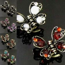 ADD'L Item FREE Shipping - 2 Antiqued Rhinestone Butterfly Small Hair Claw Clip