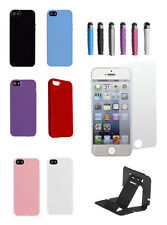 TPU Solid Silicone Gel Soft Case Cover For iPhone 5/5se free stylus screen stand