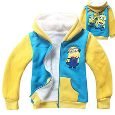 Winter Despicable Me Minions Kids Boys Girls Zipper Thick Hoodies Fleeced Coat