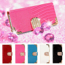 Luxury Bling Leather Case Magnetic Flip Wallet Stand Cover For iPhone Samsung