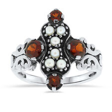 VICTORIAN ANTIQUE STYLE GENUINE GARNET SEED PEARL .925 STERLING SILVER RING, #14