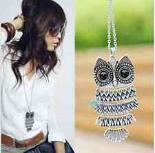 New Fashion Women Vintage Style Bronze Owl Long Chain Necklace Pendant Jewelry