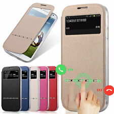 Ultrathin Window View Flip Leather Stand Case Cover For Samsung Galaxy Models