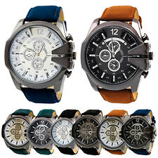 Men Big Dial Faux Leather Band Stainless Steel Analog Quartz Sports Wrist Watch